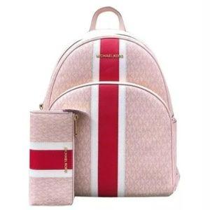 Michael Kors Pink Abbey Backpack Set